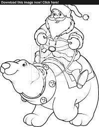 santa claus riding on polar bear coloring page vector yayimages com