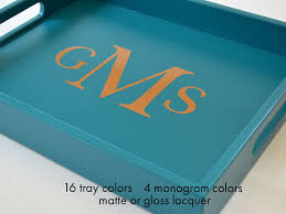 monogrammed serving tray 14 x 18 monogram lacquer serving tray personalized gift