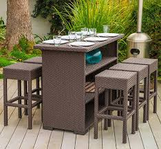 outdoor dining set counter height table bar stool 7 piece poolside