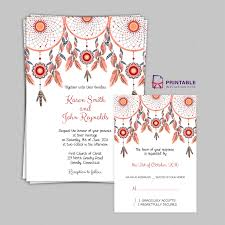 printable wedding invitation kits boho theme dreamcatchers wedding invitation set wedding