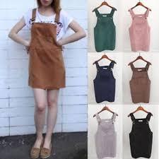 us summer women corduroy suspender skirt overall vest jumpsuit