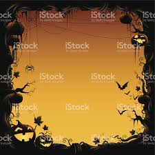 halloween border made of pumpkin vine with bats and spider stock