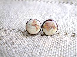 whole wide world vintage world map stud earrings antique