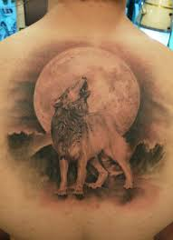 howling wolf grey ink 3d on back tattooshunt com