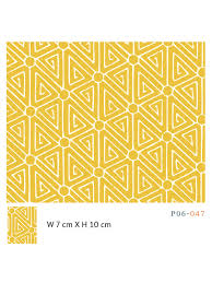 yellow mustard color home interior design with chinese pattern wallpaper and fabric