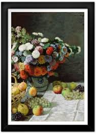 flowers and fruit claude monet still with flowers and fruit print