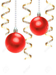 hanging red christmas baubles and gold ribbon over white stock