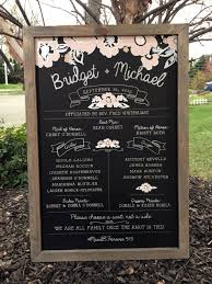 Chalkboard Wedding Program Rustic 24x36 Barn Grey Framed Chalkboard Wedding Program Ceremony