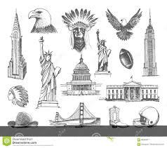 sketches of symbols of the usa stock vector image 88360617