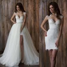 cap sleeve 2 piece wedding dress short front long back detachable