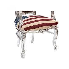 poltrone americane poltrona barocco in legno colore argento e tessuto con bandiera