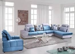 Modern Blue Washable Velvet Fabric Corner Sofa Set Living Room - Sofa set in living room