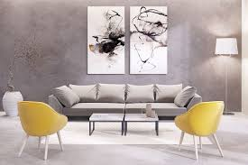 abstract matching set wall art floor lamp yellow armchair gray