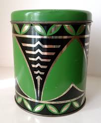 vintage art deco kitchen canister tin in green black and gold