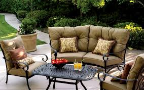 Cast Aluminum Patio Furniture Patio Furniture Deep Seating Sectional Cast Aluminum Set Crescent