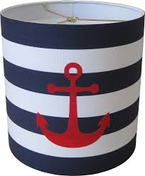 Nautical Lamps Lampshapes Com Anchor Lamp Shade Drum In Navy Blue And Primary