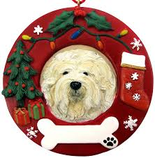 lhasa apso ornament wreath shaped easily