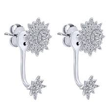 diamond earrings diamond sunburst peek a boo 1 2cttw diamond earrings mullen jewelers