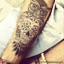 owl skull idea arm tattoos owl skull