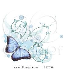 royalty free vector clip illustration of a blue morpho