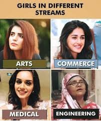 Different Memes - girls in different streams arts commerce medical engineering