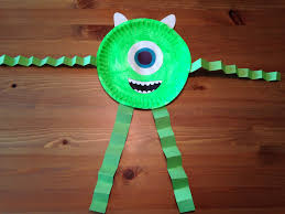 halloween paper plate crafts mike wazowski paper plate craft monsters inc craft monsters