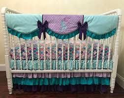 Turquoise And Purple Bedding Mermaid Crib Bedding Etsy