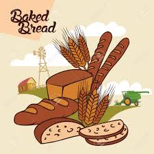 from farm to table baked bread from farm to table advertising illustration with
