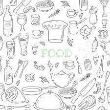 food and drink outline doodle background hand drawn kitchen