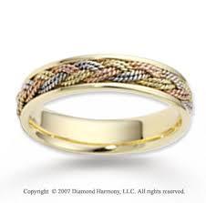 braided wedding band tri tone gold rope braided wedding band