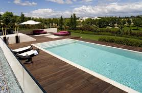 ideas modern pools design with white pool umbrella and pool