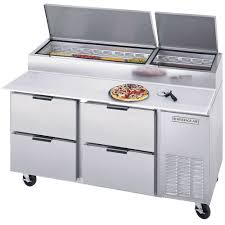 commercial pizza prep tables beverage air dpd67 4 67 four drawer pizza prep table