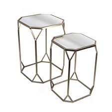 mirrored end table set of two metal mirror end tables