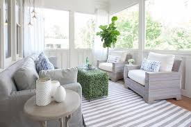 Curtains In Sunroom Green And Gray Sunroom Design Transitional Deck Patio