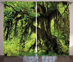 green tree with moss in jungle natural life zen home decor curtain