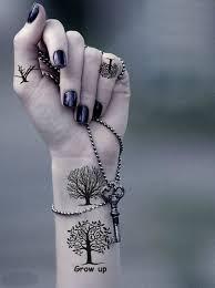 scenery tree tattoos on left wrist