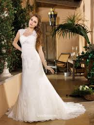cap sleeve lace appliqued fall wedding dress with sweep train