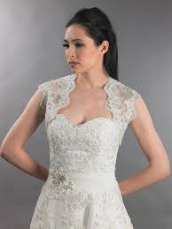wedding dress jacket sleeveless bridal keyhole back alencon lace bolero lace 098