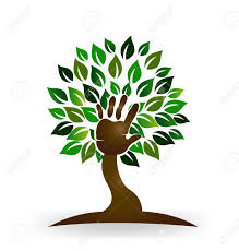 tree symbol tree hand help families symbol logo vector royalty free cliparts