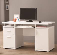 this white computer desk may look sleek and simple but it s full of practicality too featuring two storage drawers one cabinet and a keyboard tray