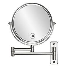 Extendable Bathroom Mirror Wall Mounted Makeup Mirror 10x Magnification 8 Two