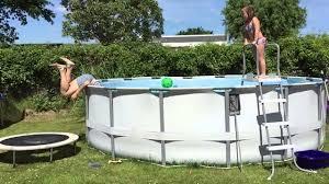 pool fail trampoline poolaction wenn der poolsprung schief geht
