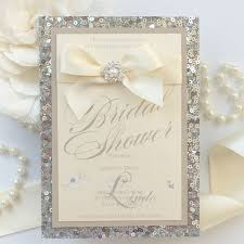 bling wedding invitations silver sequins pearls and bling bridal shower invitation