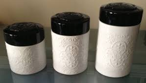 black kitchen canisters disney park mickey mouse white black ceramic embossed