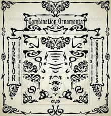 combination ornaments in nouveau style by remengo graphicriver
