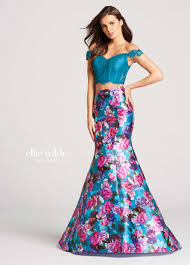 2 piece off the shoulder lace top u0026 floral skirt prom dress ew118009