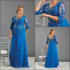 plus size formal dresses with 3 4 long sleeves applique v neck