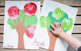 kids fall crafts a is for apple red stamp