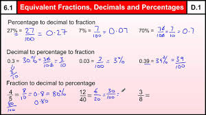 Fractions Decimals And Percents Worksheets 6th Grade 6 1 Equivalent Fractions Decimals Percentages Basic Maths Core
