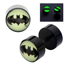 batman earrings dc comics earrings ring cheater taper glow